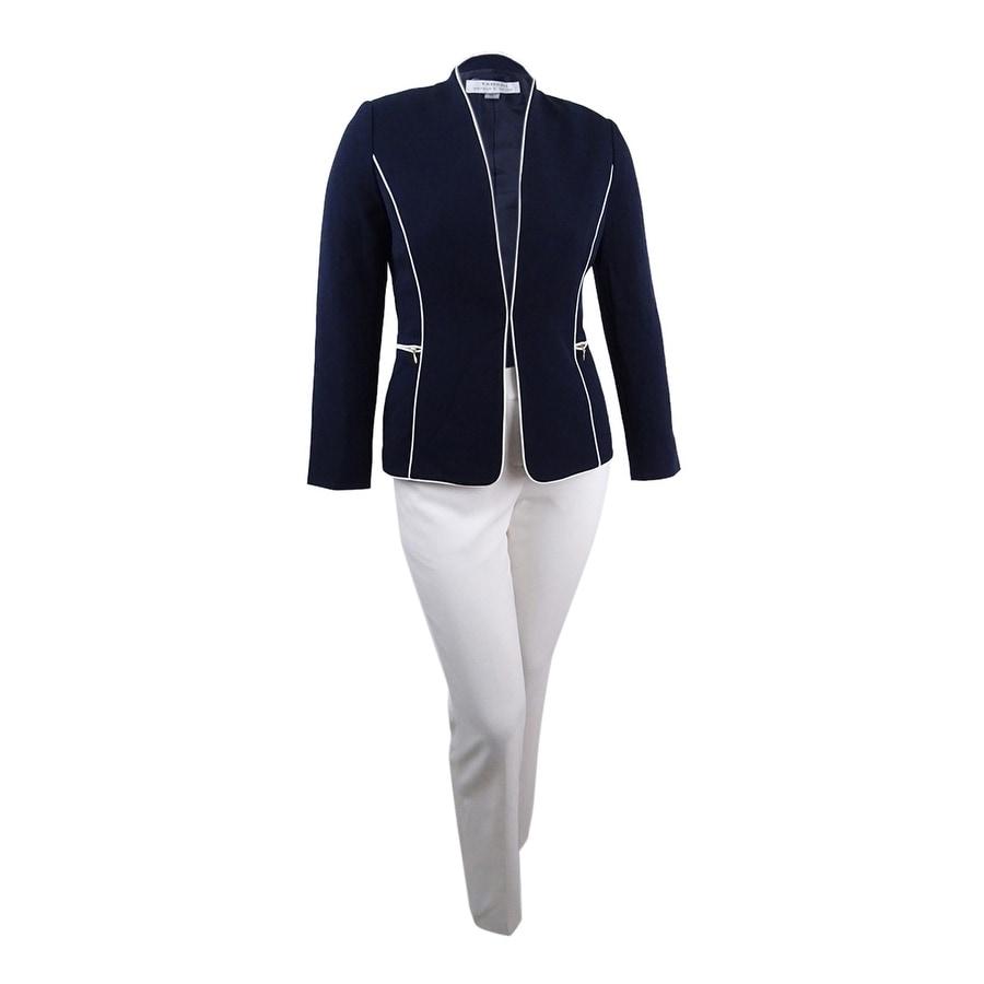 Tahari ASL Womens Zip-Pocket Piped Pantsuit