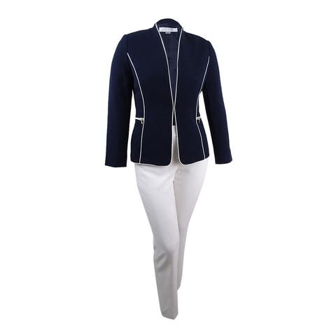 c2cf2cd79e9 Tahari ASL Women s Zip-Pocket Piped Pantsuit