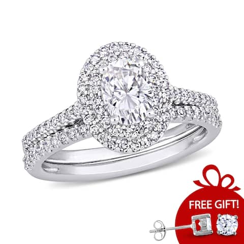 Miadora 1ct DEW Oval-Cut Moissanite and 2/5ct TDW Diamond Bridal Ring Set in 14k White Gold