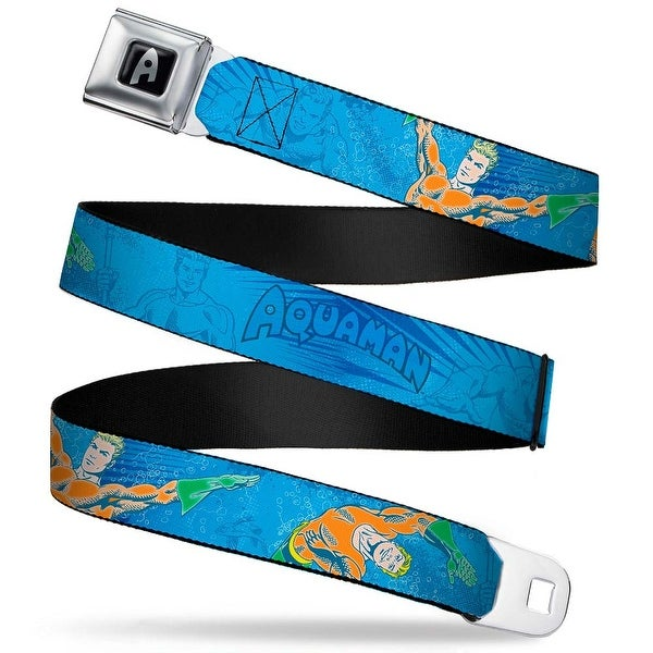 Aquaman Logo Full Color Black White Silver Fade Aquaman Action Poses Blues Seatbelt Belt