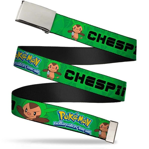 Blank Chrome Buckle Pokemon X & Y Chespin Poses Leaves Greens Webbing Web Belt - S