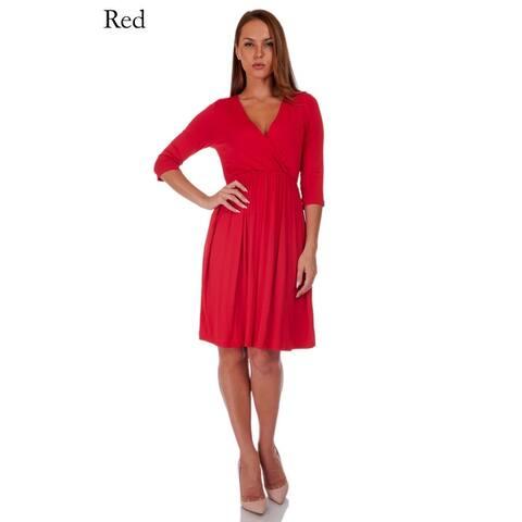 SR Women's Casual Maternity V Neck Wrap Knee Length Maxi Dress