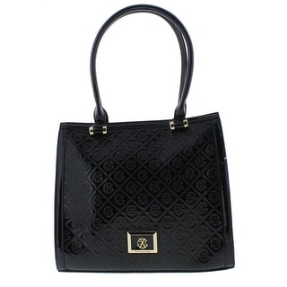 Christian Lacroix Womens Sylvia Tote Handbag Patent Faux Leather - Black - Large