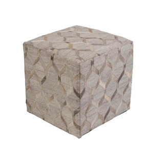 "18""Champagne Beige and Koala Gray Geometric Contemporary Foot Stool Ottoman"