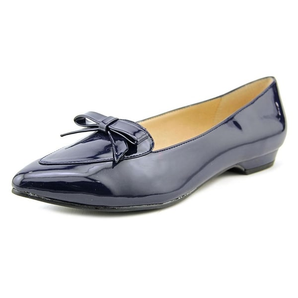 Ann Marino by Bettye Muller Sublime Women Pointed Toe Patent Leather Blue Flats