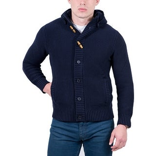 Cashmere Company Navy Blue Waffle Knit Hooded Cardigan