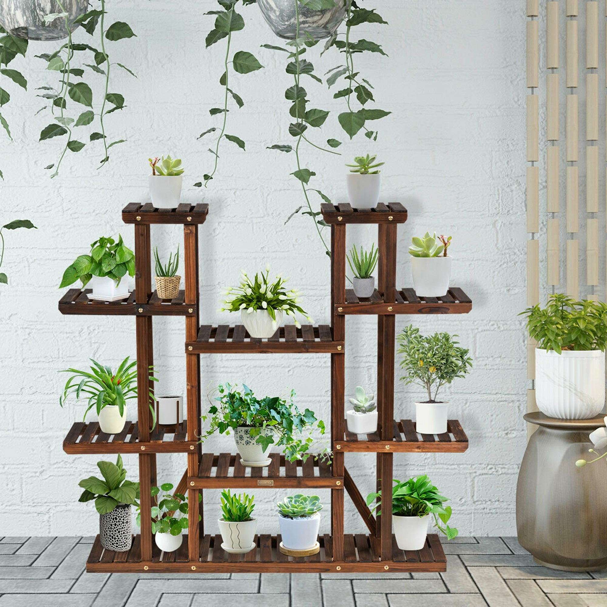 Gymax 16 Tier Wood Plant Stand 16'' High Carbonized 16 Potted Flower   16''  x 16'' x 16'' L x W x H
