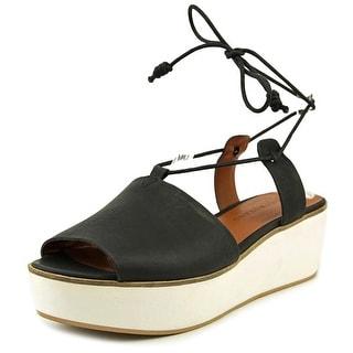 Lucky Brand Jaxson Women Open Toe Leather Black Platform Sandal
