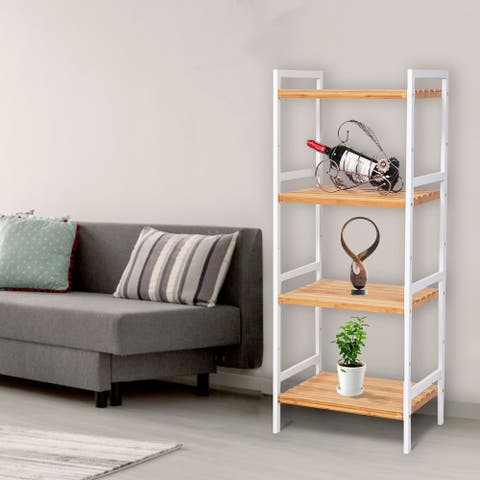 Kinbor 4-Tier Bamboo Bathroom Shelf, Multifunctional Storage Rack Utility Shelf Stand Tower for Living Room, Hallway, Balcony