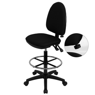 """Delacora FF-WL-A654MG-D  22"""" Wide Fabric Drafting Chair with Adjustable Lumbar Support"""