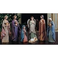 "Set of 7 Joseph's Studio Cracked Finish Religious Nativity Figures 11.5"" - multi"