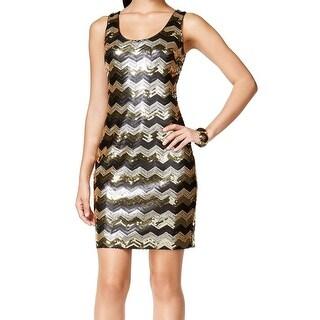 Guess NEW Gold Black Women's Size 10 Chevron Sequin Sheath Dress