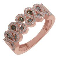 Prism Jewel 0.83Ct Natural Brown Color Diamond with G-H/SI1 Diamond Half Eternity Ring