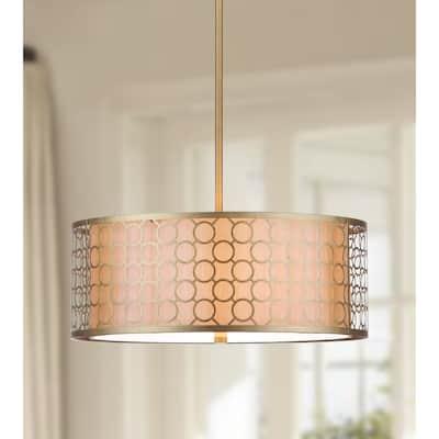 "SAFAVIEH Lighting Giotta Adjustable 3-light Gold Drum Pendant - 18""x18""x9.25-45.25"""