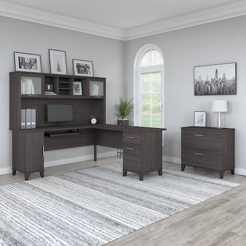 Copper Grove Shumen 72-inch L-shaped Desk with Hutch and File Cabinet