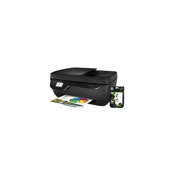0de50d95b Shop HP OfficeJet 3830 AIO Printer w/ 63 Ink Cartridge - Black, Tri-Color  OfficeJet 3830 All-in-One Printer - Free Shipping Today - Overstock -  20200241