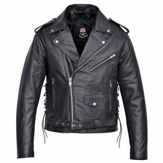 Men's Motorcycle Biker Leather Jacket Classic Design Embossed Eagle Black J019