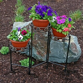 Sunnydaze Tiered Folding Plant Stand - Options Available - Bronze
