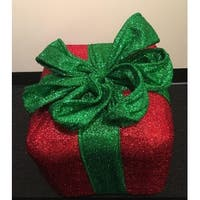 """12"""" Sparkly Red and Green Inflatable Tinsel Gift Box Christmas Decoration"""