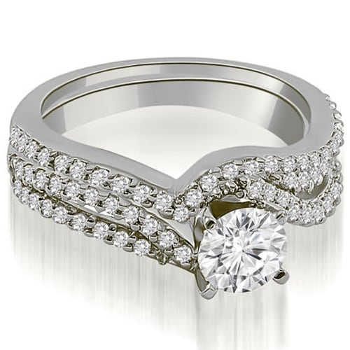 1.03 cttw. 14K White Gold Twisted Split Shank Round Cut Diamond Bridal Set