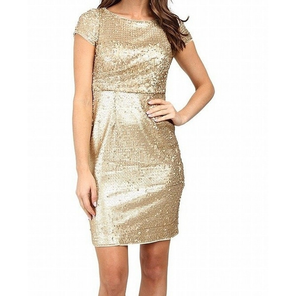 219b6184 Adrianna Papell NEW Gold Matte Women's Size 10 Sheath Sequin Dress