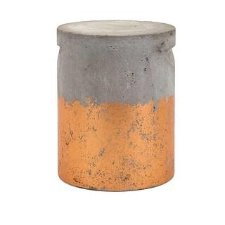 "16.25"" Decorative ""Bryson"" Gray and Metallic Copper Outdoor Cement Garden Stool"