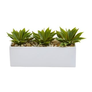 Nearly Natural Home Decor Agave Succulent in Rectangular Planter