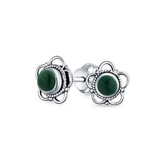 Bling Jewelry Imitation Malachite Cut Out Flower Stud earrings 925 Sterling Silver 8mm