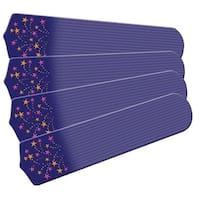 Purple Shooting Stars Designer 42in Ceiling Fan Blades Set - Multi