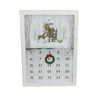 """15.75"""" Rustic White Magnetic Hanging """"Merry Christmas"""" Countdown Advent Calendar"""