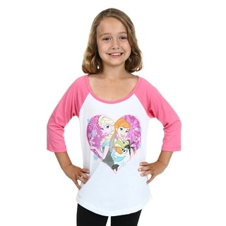 Girls Frozen Springtime Heart Raglan Shirt