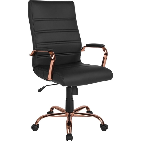 Offex High Back Black Leather Executive Swivel Office Chair with Rose Gold Frame and Arms - N/A