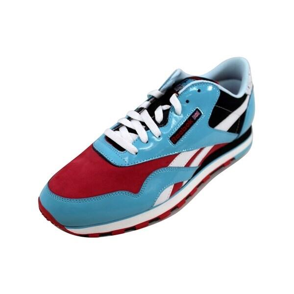5025ba4c89e95b Shop Reebok Men s CL Nylon RBC Patent II 2 Light Blue Red-White nan ...