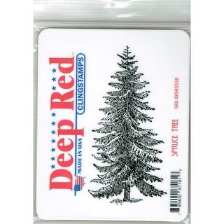 Deep Red Stamps Spruce Tree Rubber Cling Stamp - 2 x 4