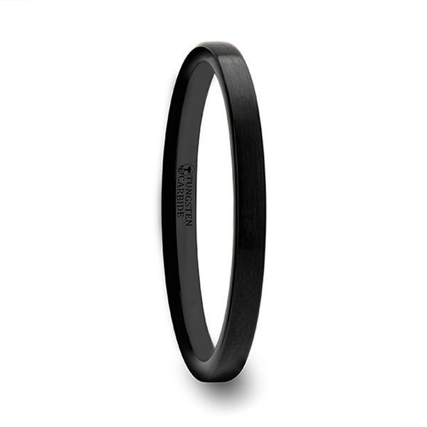 THORSTEN - CAROLINA Black Flat Shaped Tungsten Wedding Band for Women with Brushed Finish - 2 mm