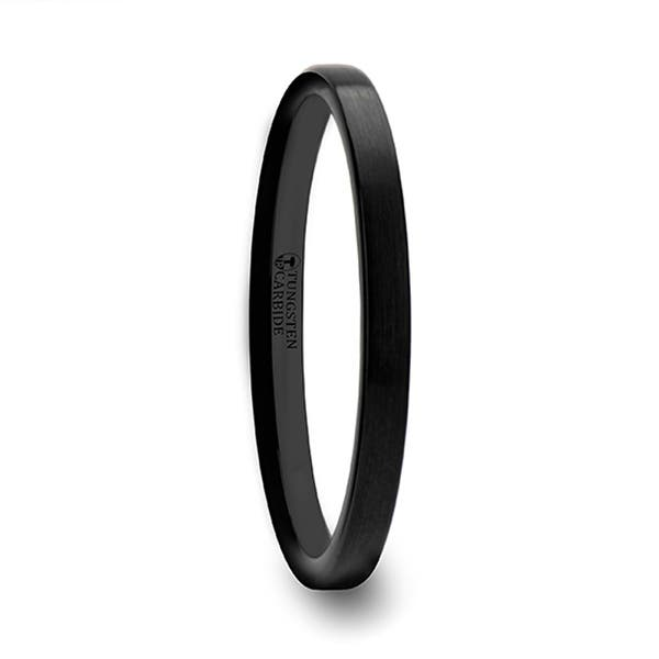 Shop Thorsten Carolina Black Flat Shaped Tungsten Wedding Band