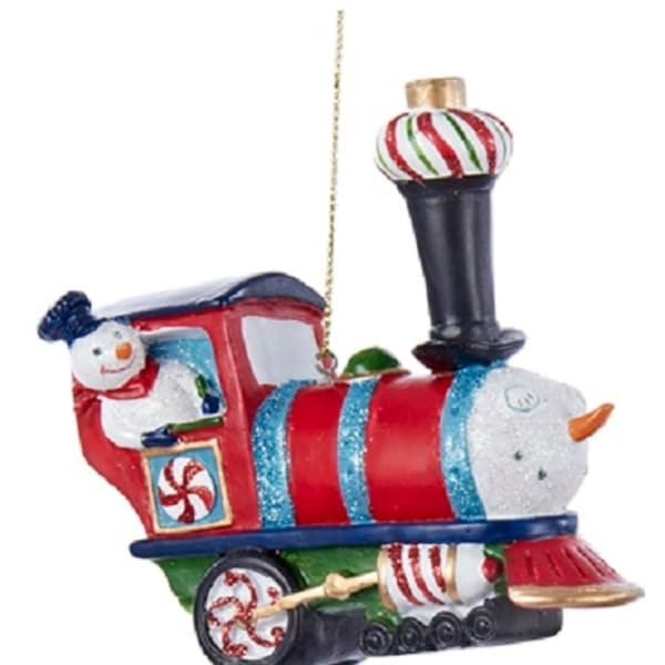 shop 3 75 red peppermint twist snowman glittered steam engine train