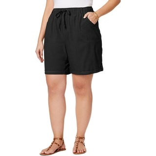Karen Scott Womens Plus Adelina  Bermuda, Walking Shorts Comfort Waist - Deep Black