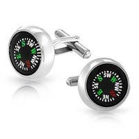 Bling Jewelry Mens Black Working Compass Cufflinks Stainless Steel