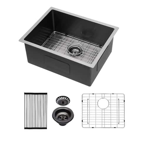 23 in. Black Stainless Steel Single Bowl Kitchen Sink