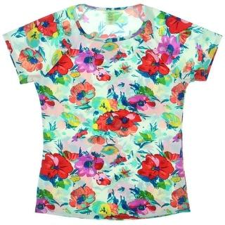 Bleu Rod Beattie Womens Rashguard Floral Print Short Sleeves Swim Top Cover-Up - M
