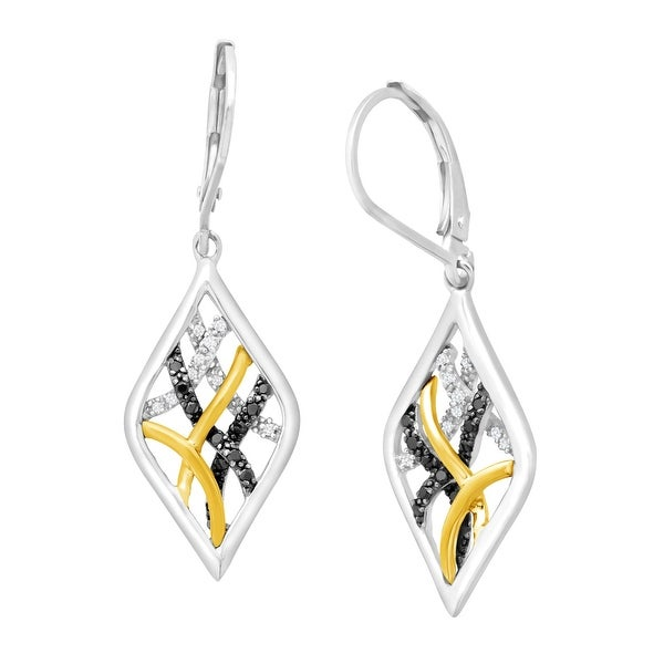1/5 ct Black & White Diamond Drop Earrings in Sterling Silver & 14K Gold - multi-color