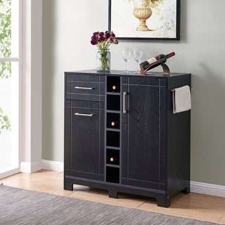 BELLEZE Vietti Bar Bottle Storage Cabinets and Drawer, Black