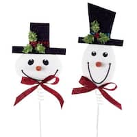 Club Pack of 12 Red and White Smiling Snowmen Christmas Sprays 24""