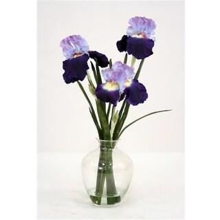 Distinctive Designs 16056B Waterlook Silk Purple-Blue Bearded Iris with Blades in a Victorian Glass Vase