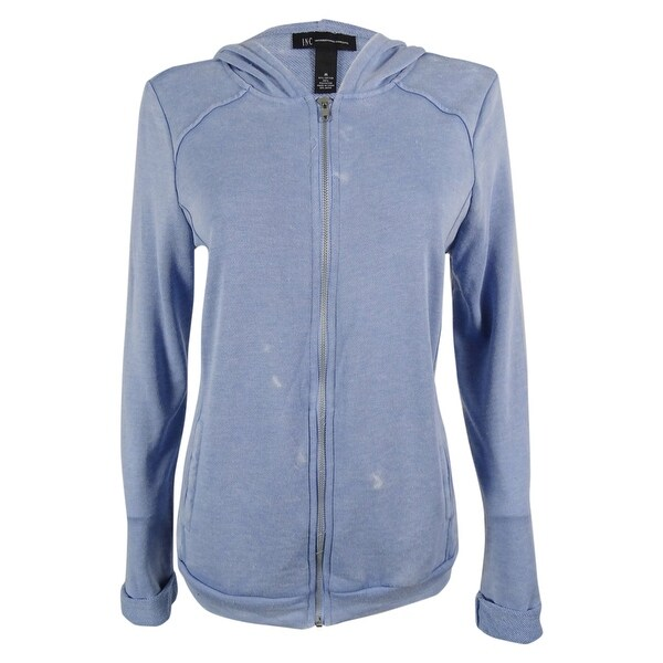 INC International Concepts Women's Distressed Hoodie Sweater - BLUE WASH