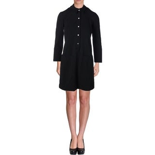 Theory Womens Petites Erimenthia Ponte 3/4 Sleeves Shirtdress - p