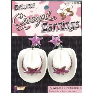 Deluxe Cowgirl Hat Costume Earrings - Pink