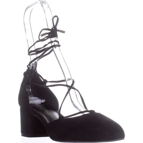 Kenneth Cole New York Toniann Lace Up Round Toe Kitten Heels, Black Suede - 8 us / 39 eu