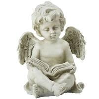 """6.5"""" Gray Decorative Sitting Cherub Angel Outdoor Garden Statue - N/A"""